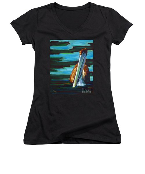 Women's V-Neck T-Shirt (Junior Cut) featuring the painting Shy Brownie by Suzanne McKee