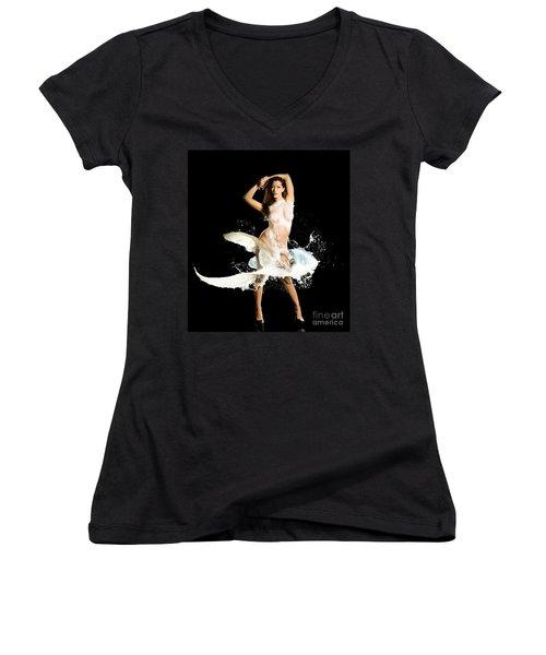 Sides Women's V-Neck T-Shirt (Junior Cut) by Gregory Worsham