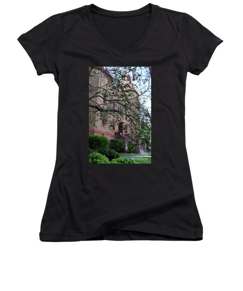Women's V-Neck T-Shirt (Junior Cut) featuring the photograph Sidney Park Cme Church by Skip Willits