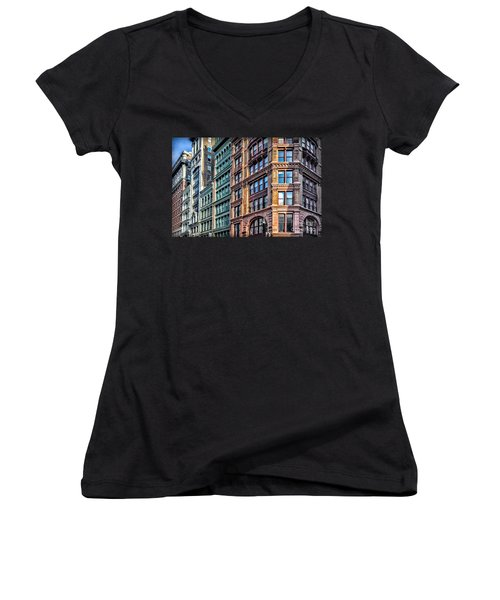 Women's V-Neck T-Shirt (Junior Cut) featuring the photograph Sights In New York City - Colorful Buildings by Walt Foegelle