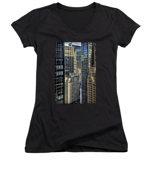Women's V-Neck T-Shirt (Junior Cut) featuring the photograph Sights In New York City - Skyscrapers Shot From Skyscraper by Walt Foegelle
