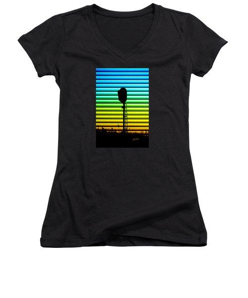 Women's V-Neck T-Shirt (Junior Cut) featuring the photograph Signal At Dusk by Bill Kesler