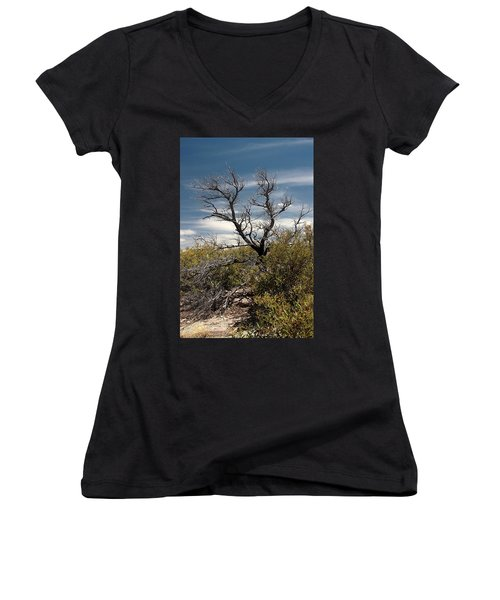 Women's V-Neck T-Shirt (Junior Cut) featuring the photograph Signs Of Life After The Fire by Joe Kozlowski