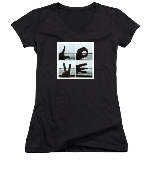 Signs Of Love Women's V-Neck (Athletic Fit)