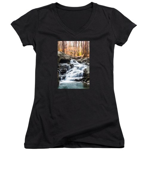 Autumn At Moss Rock Preserve Women's V-Neck T-Shirt (Junior Cut) by Parker Cunningham