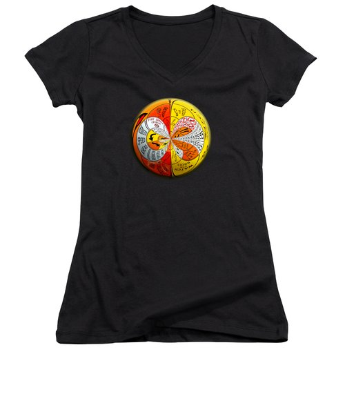 Women's V-Neck T-Shirt (Junior Cut) featuring the photograph Signs Orbit by Phyllis Denton