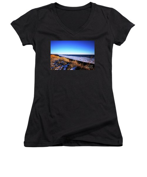 Silence At Black Sand Beach Women's V-Neck (Athletic Fit)
