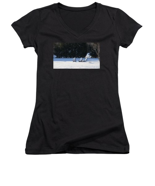 Women's V-Neck T-Shirt (Junior Cut) featuring the photograph Silent Conversation by Charles Kraus