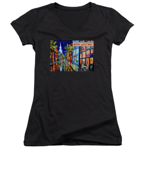 Silent Night Christmas Card Women's V-Neck T-Shirt (Junior Cut) by Dorothy Allston Rogers