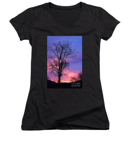 Women's V-Neck T-Shirt (Junior Cut) featuring the photograph Silhouette At Dawn by Larry Ricker