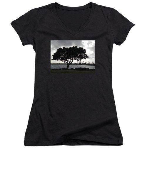 Silhouette Of Tree Women's V-Neck