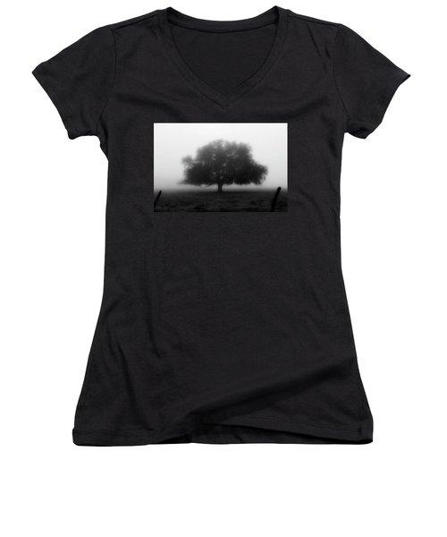 Silhouette Of Tree In Field Women's V-Neck