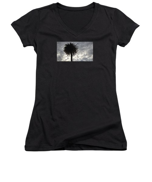 Women's V-Neck T-Shirt (Junior Cut) featuring the photograph Silhouette Solo Palm  by Nora Boghossian