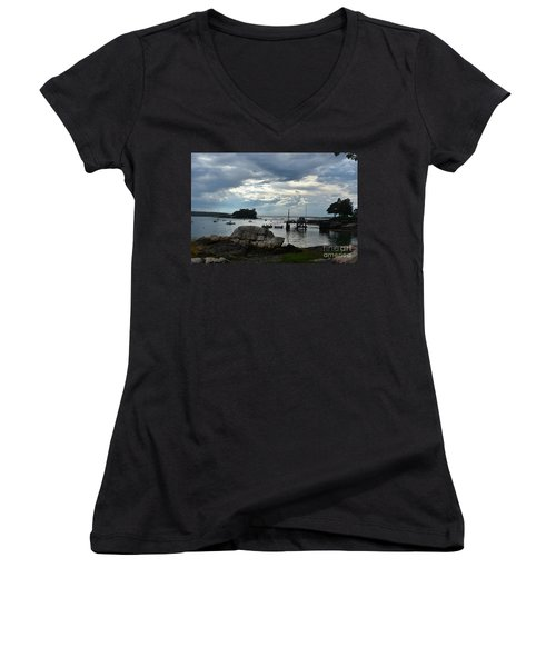 Silhouetted Views From Bustin's Island In Maine Women's V-Neck T-Shirt (Junior Cut) by DejaVu Designs