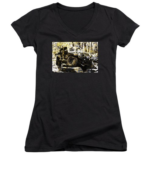 Silver And Gold Jeep Wrangler Jku Women's V-Neck (Athletic Fit)