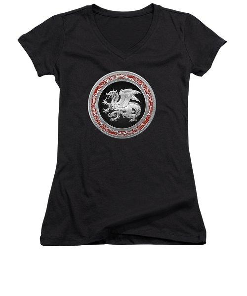 Silver Icelandic Dragon  Women's V-Neck T-Shirt (Junior Cut) by Serge Averbukh