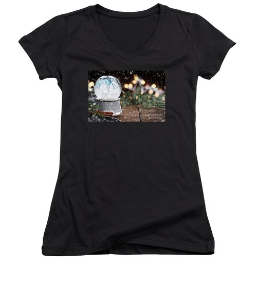 Women's V-Neck T-Shirt (Junior Cut) featuring the photograph Silver Snow Globe With White Christmas Trees by Stephanie Frey