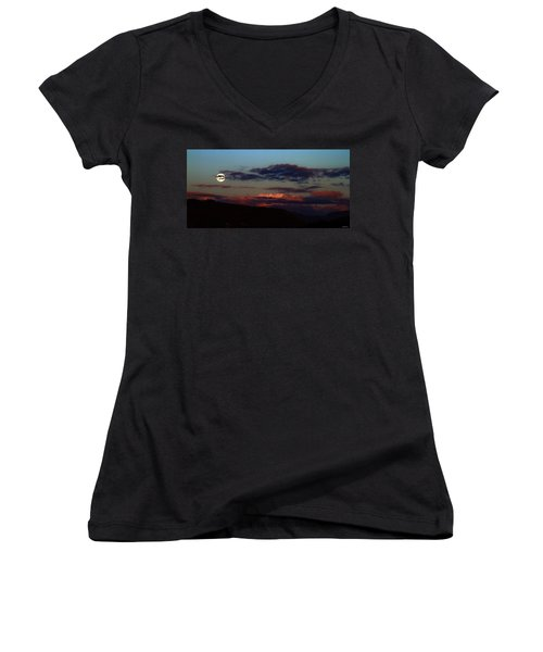 Silver Valley Moon Women's V-Neck T-Shirt
