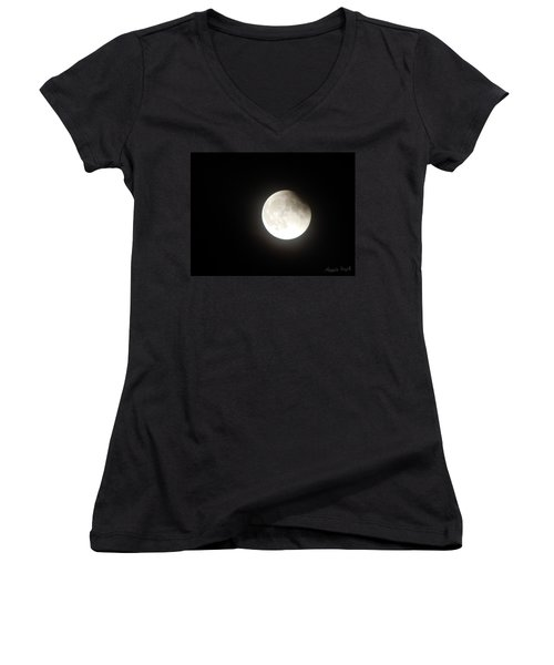 Silver White Eclipse Women's V-Neck