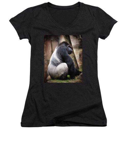 Silverback Women's V-Neck T-Shirt (Junior Cut) by Lana Trussell