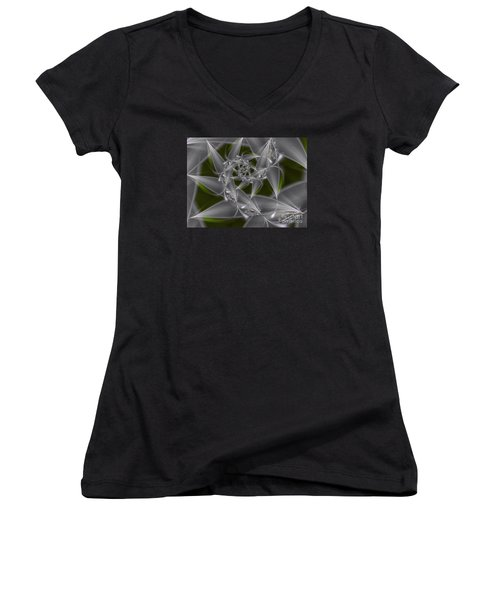 Women's V-Neck T-Shirt (Junior Cut) featuring the digital art Silverleaves by Karin Kuhlmann