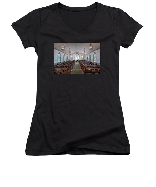 Simple Worship Women's V-Neck T-Shirt (Junior Cut) by Andy Crawford