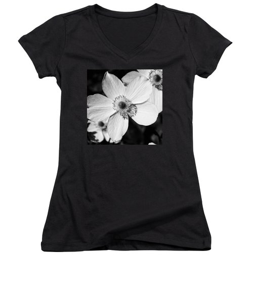 Simply Black And White Women's V-Neck T-Shirt (Junior Cut) by Karen Stahlros