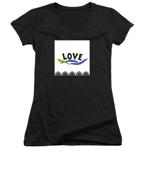 Women's V-Neck T-Shirt (Junior Cut) featuring the mixed media Simply Love by Gloria Rothrock
