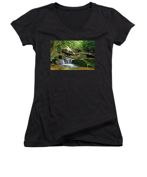 Sims Creek Waterfall Women's V-Neck T-Shirt (Junior Cut) by Meta Gatschenberger
