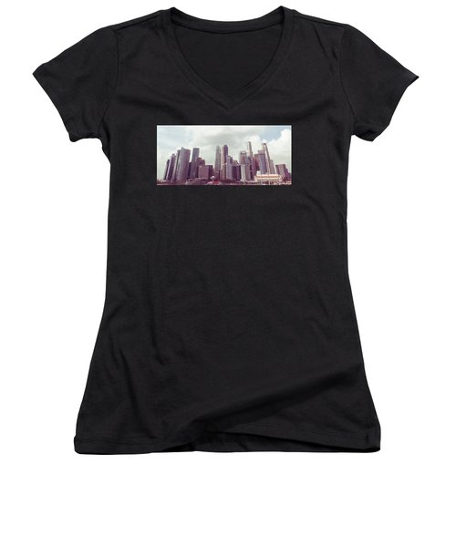 Singapore Cityscape The Second Women's V-Neck T-Shirt (Junior Cut) by Joseph Westrupp