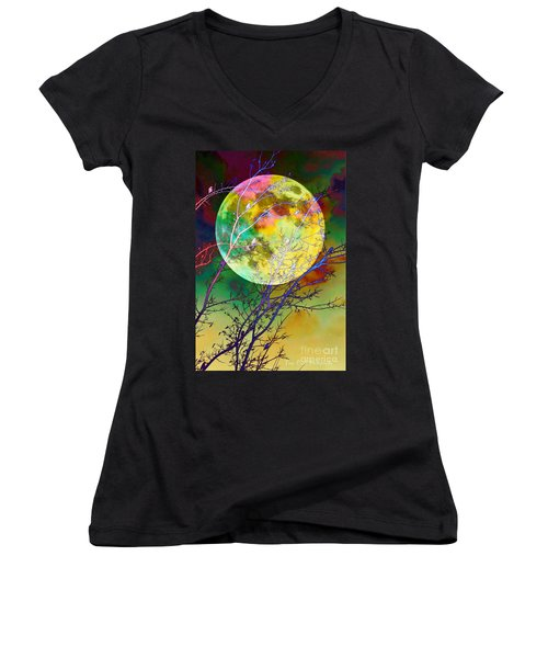 Singing By The Light Of The Moon Women's V-Neck T-Shirt