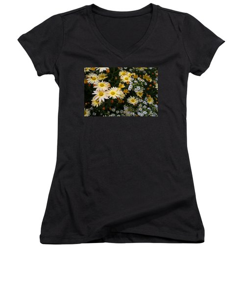 Women's V-Neck T-Shirt (Junior Cut) featuring the photograph Single Chrysanthemums by Kathryn Meyer