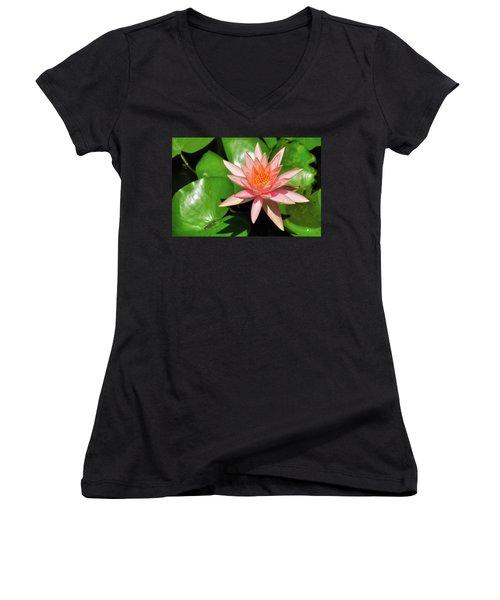 Single Flower Women's V-Neck T-Shirt (Junior Cut) by Gandz Photography