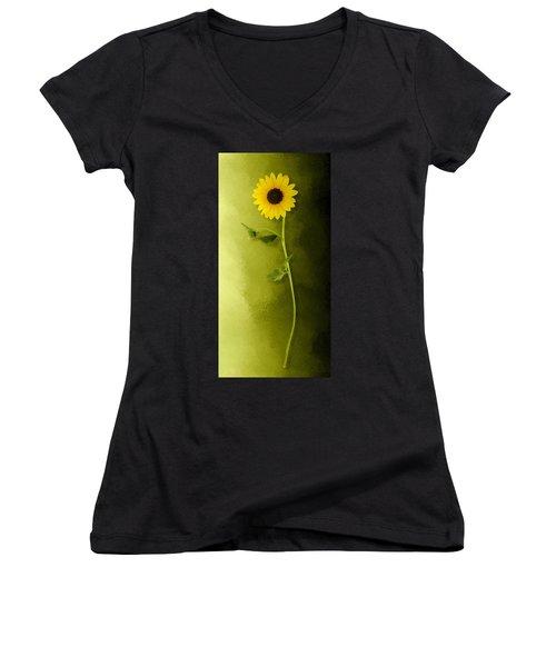 Single Long Stem Sunflower Women's V-Neck