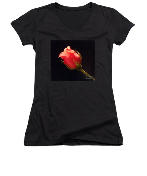 Single Pink Rose Bud Women's V-Neck
