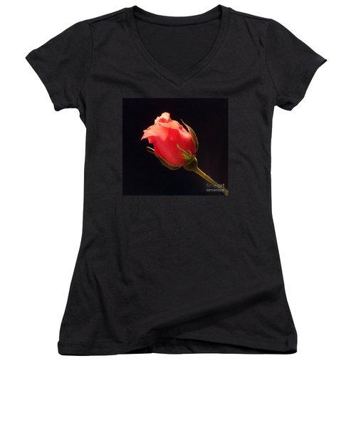 Single Pink Rose Bud Women's V-Neck