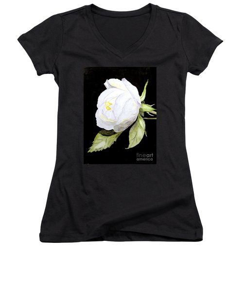 Women's V-Neck T-Shirt (Junior Cut) featuring the painting Single White  Bloom  by Carol Grimes