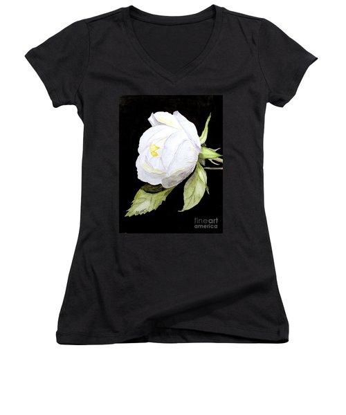Single White  Bloom  Women's V-Neck T-Shirt