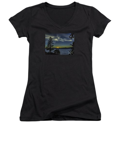 Sinking Sol Women's V-Neck T-Shirt (Junior Cut) by Nancy Marie Ricketts