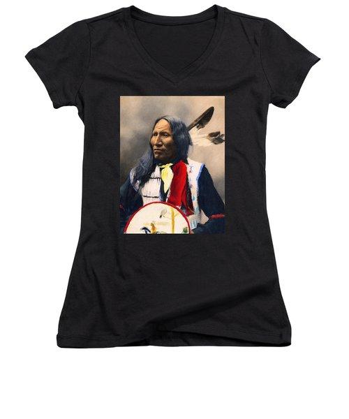 Sioux Chief Portrait Women's V-Neck (Athletic Fit)