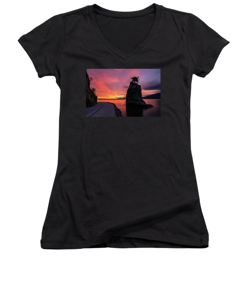 Women's V-Neck T-Shirt (Junior Cut) featuring the photograph Siwash Rock Along The Sea Wall by Pierre Leclerc Photography