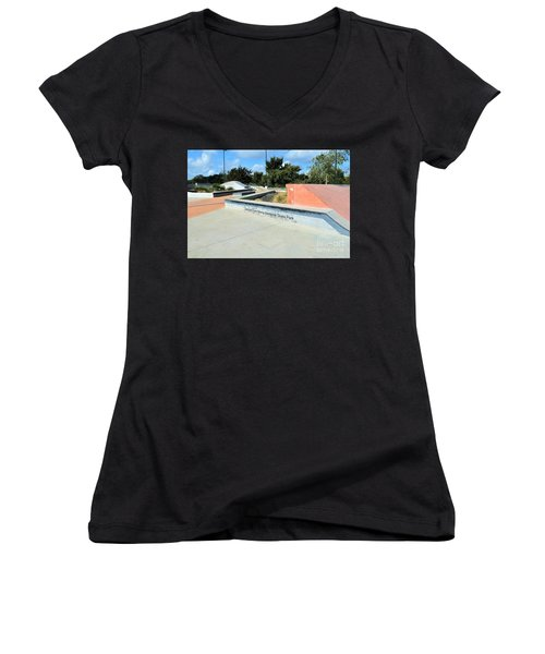 Women's V-Neck T-Shirt (Junior Cut) featuring the photograph Skate Park by Ray Shrewsberry
