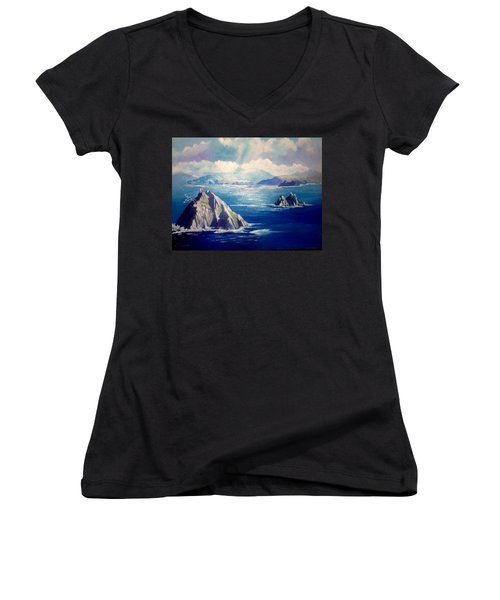 Skelligs Ireland Women's V-Neck T-Shirt (Junior Cut) by Paul Weerasekera
