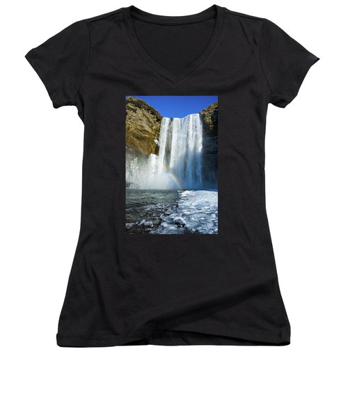 Women's V-Neck T-Shirt featuring the photograph Skogafoss Waterfall Iceland In Winter by Matthias Hauser