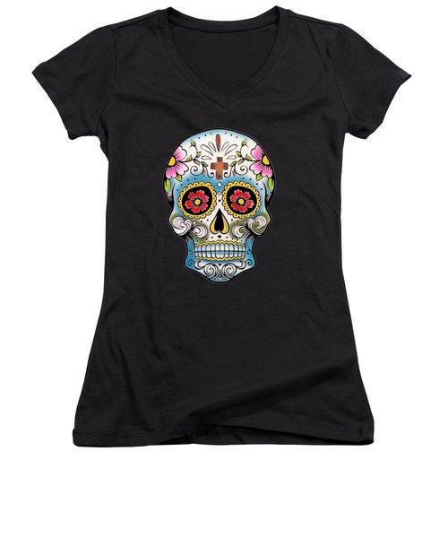 Skull 10 Women's V-Neck (Athletic Fit)