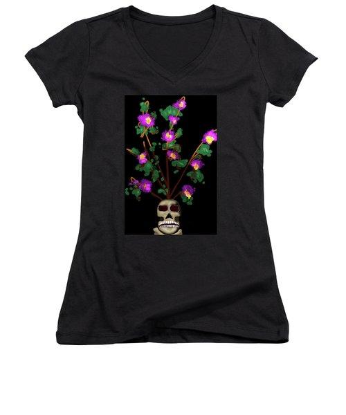 Skull Vase Women's V-Neck