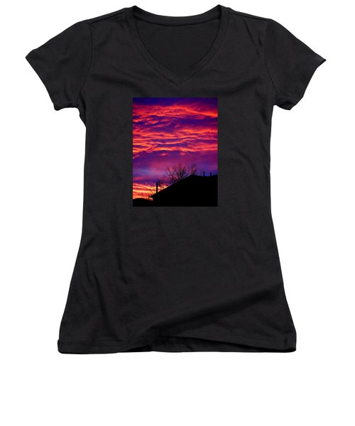 Women's V-Neck T-Shirt (Junior Cut) featuring the photograph Sky Drama by Valentino Visentini