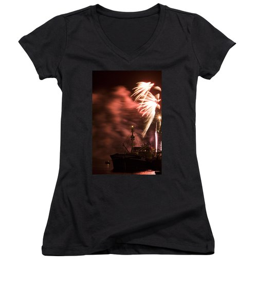 Women's V-Neck T-Shirt (Junior Cut) featuring the photograph Sky On Fire by Ian Middleton
