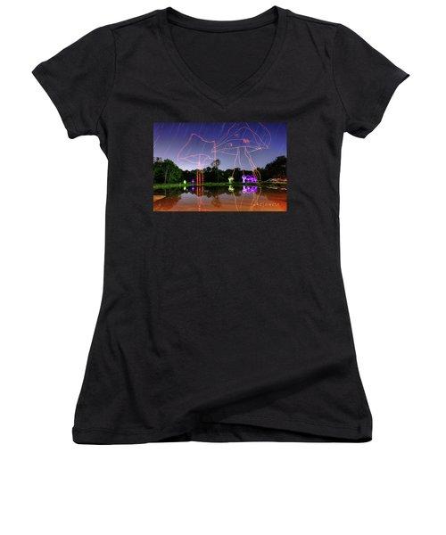 Sky Shrooms Women's V-Neck T-Shirt (Junior Cut) by Andrew Nourse
