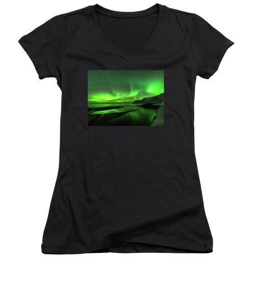 Skydance Women's V-Neck T-Shirt (Junior Cut) by Alex Lapidus